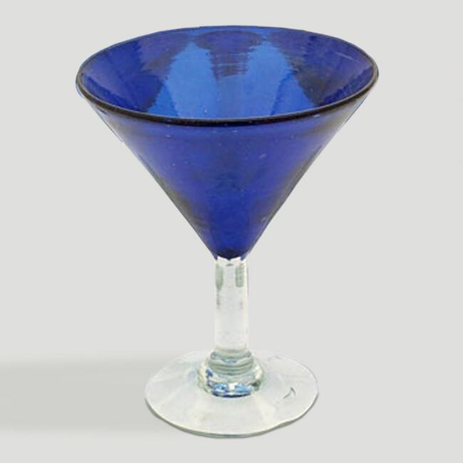 Novica Sapphire Blue Martini Glasses, Set of 6
