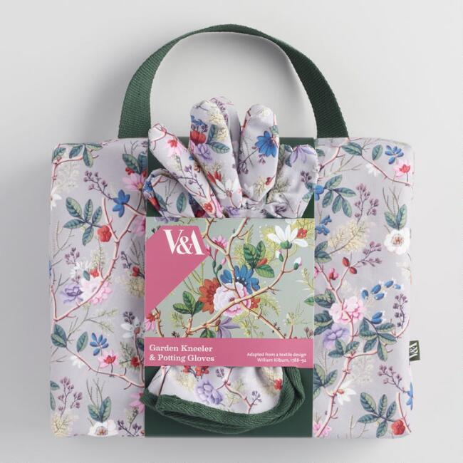 V&A Museum Gray Floral Kilburn Garden Gloves and Kneeler Set