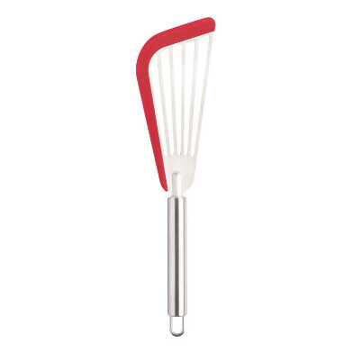 Red Silicone Edge Stainless Steel Slotted Fish Turner