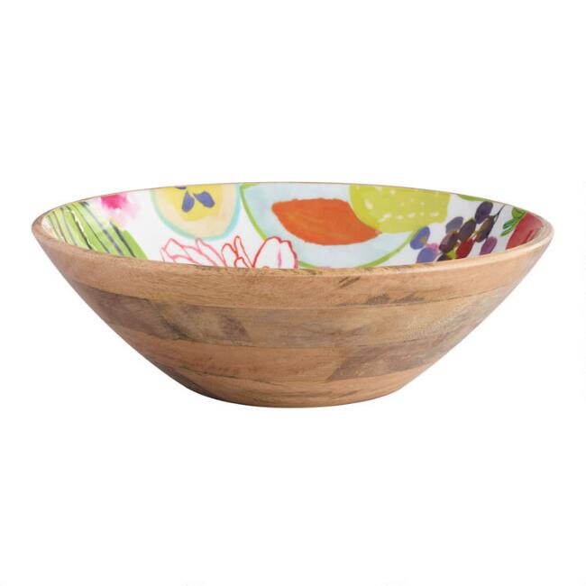 Large Santiago Fruits Enamel Wood Bowl