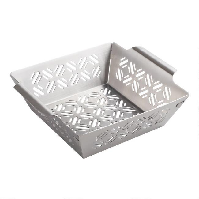 Square Stainless Steel Barbecue Grill Stir Fry Basket