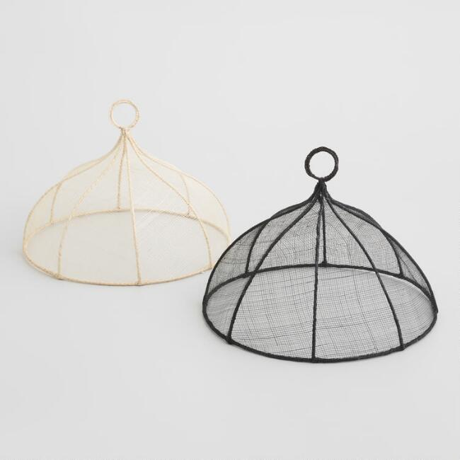 Round Black and White Mesh Food Domes Set of 2