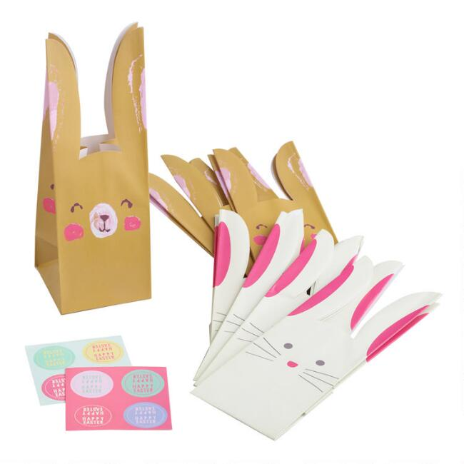 4 Count Bunny Paper Treat Bags Set of 2