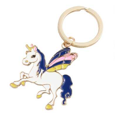 Gold Flying Unicorn Enamel Keychain