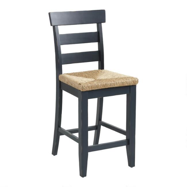 Wood and Seagrass Amelia Counter Stool