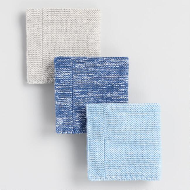 Cool Melange Woven Cotton Dishcloths Set of 3