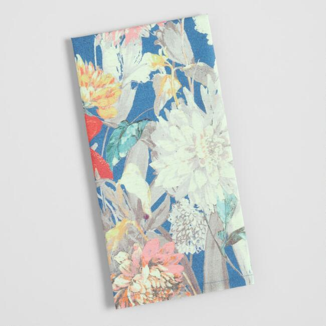 Dark Blue Watercolor Florals Kitchen Towel