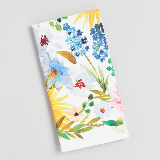 Watercolor Spring Blooms Kitchen Towel