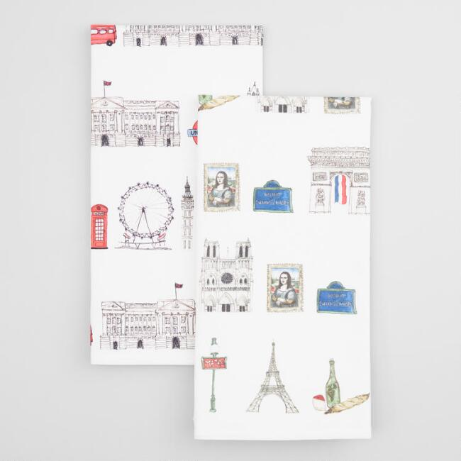 London and Paris Icons Kitchen Towels Set of 2