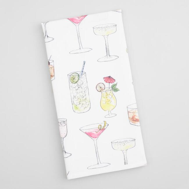 Sketched Cocktails Kitchen Towel