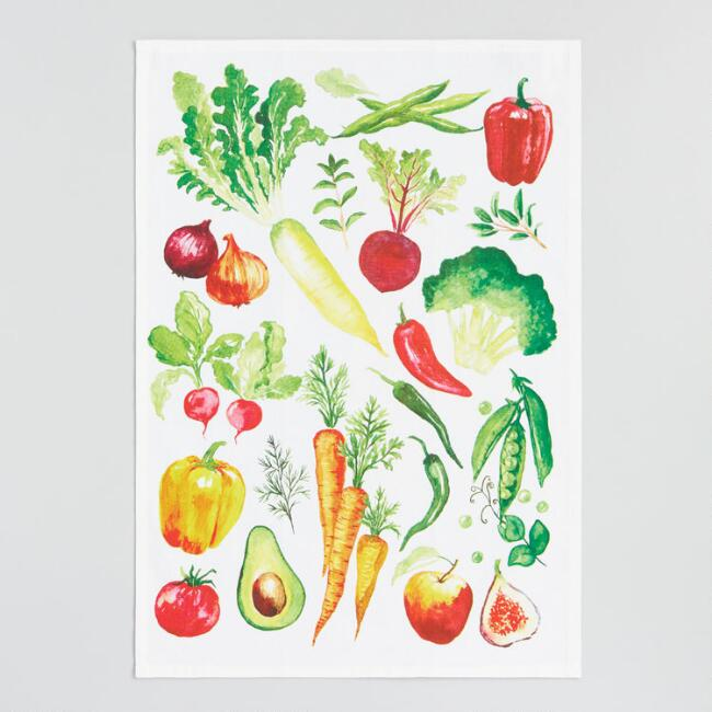 Farmers Market Veggies Kitchen Towel