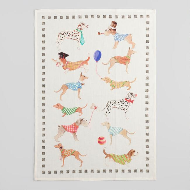 Dog Print Italian Linen Kitchen Towel