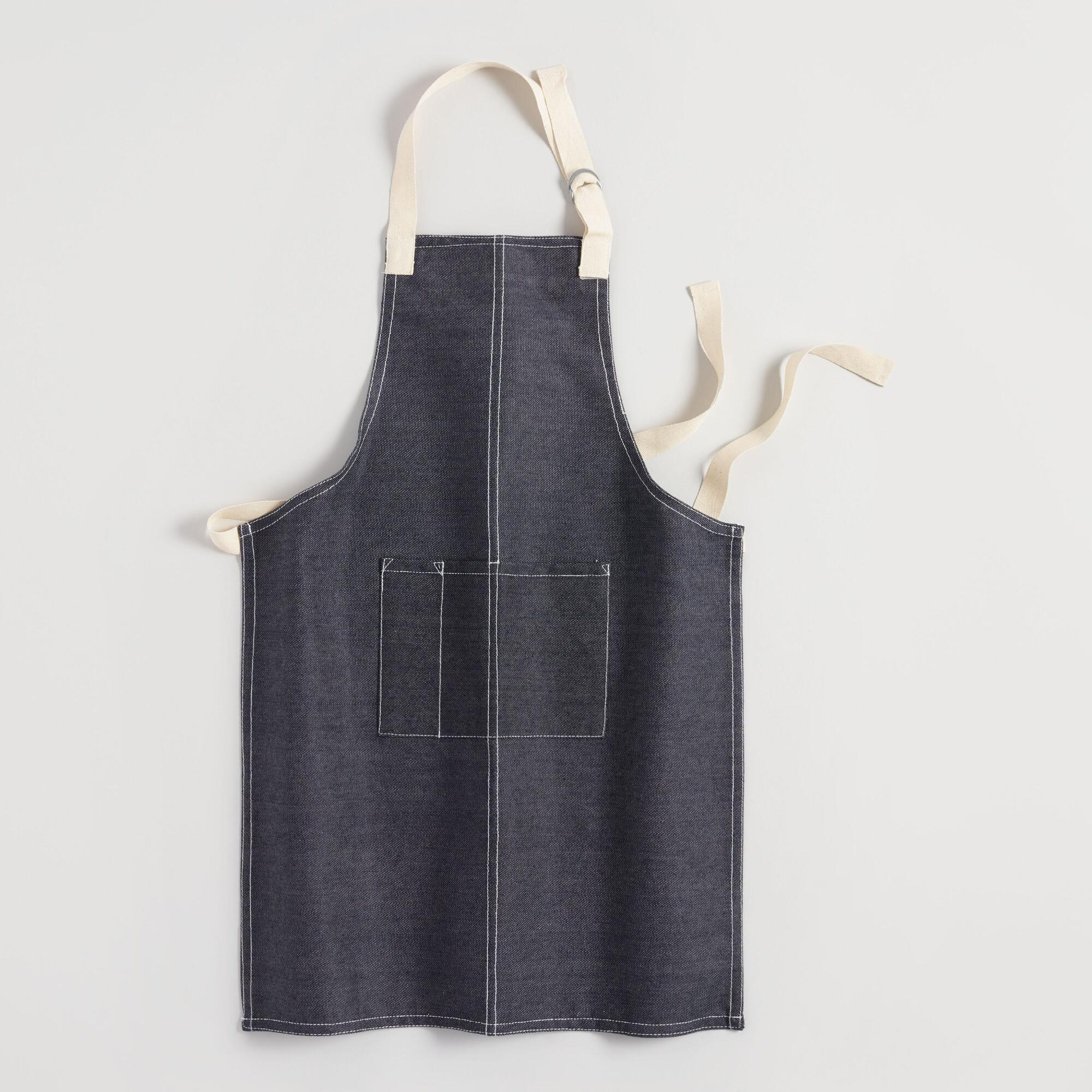 Vintage Aprons, Retro Aprons, Old Fashioned Aprons & Patterns Kids Denim Apron Blue - Cotton by World Market $14.99 AT vintagedancer.com