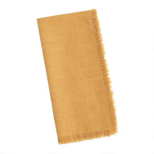 Mustard Yellow Cotton Slub Napkins with Fringe Set of 4