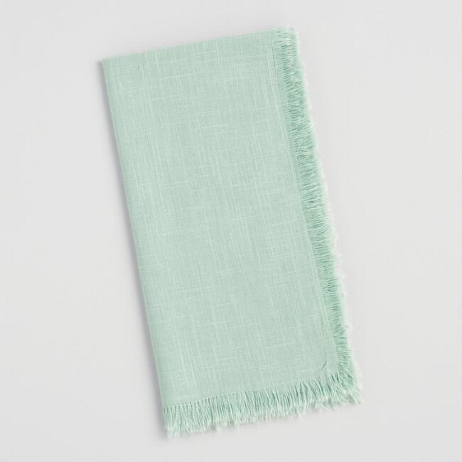 Light Green Cotton Slub Napkins with Fringe Set of 4