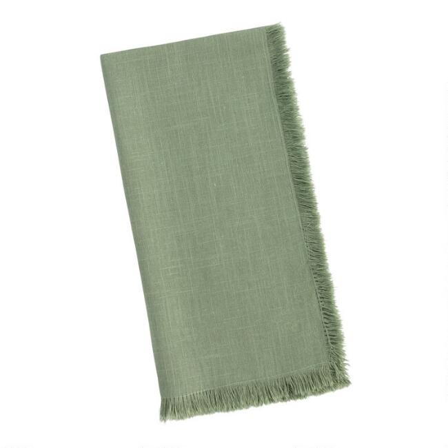 Dusty Green Cotton Slub Napkins with Fringe Set of 4