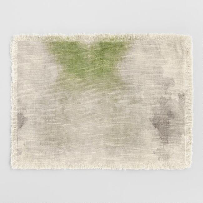 Green Watercolor Tie Dye Placemats Set of 4