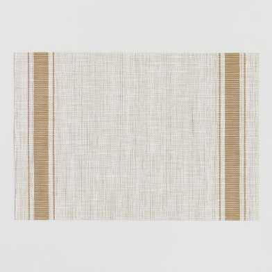 Mustard Bistro Stripe Woven Vinyl Placemats Set of 4