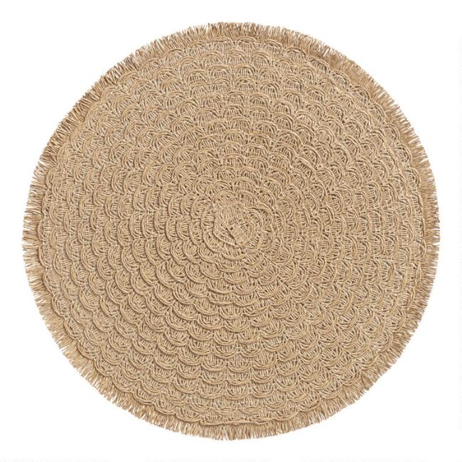 Round Natural Braided Placemats with Fringe Set of 4