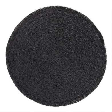 Round Black Braided Placemats with Fringe Set of 4