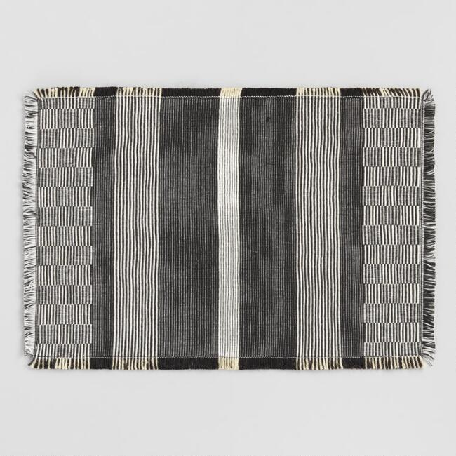 Black Woven Stripe Reversible Placemats Set of 4