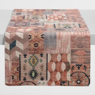 Warm Patchwork Print Table Runner