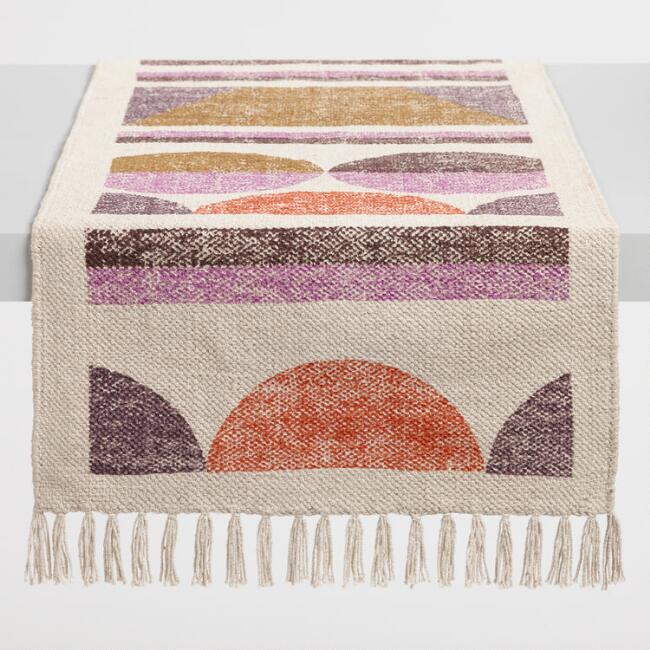 Geometric Circle Print Dhurrie Table Runner