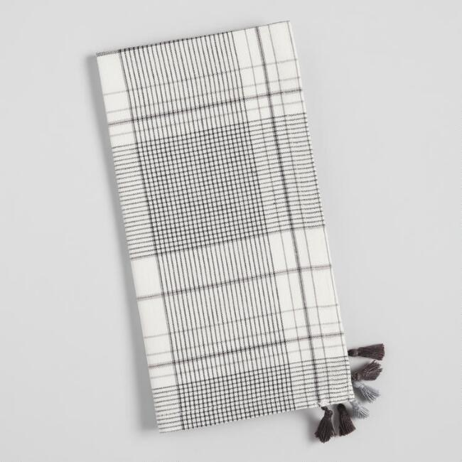 Black and White Plaid Napkins with Tassels Set of 4