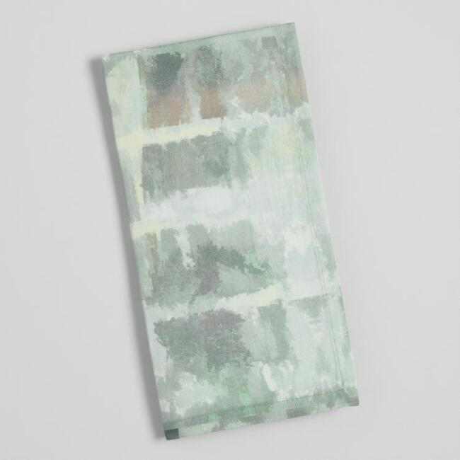 Green and Gray Abstract Print Napkins Set of 4