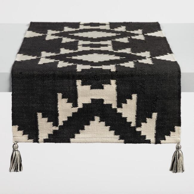 Black and Ivory Sedona Indoor Outdoor Table Runner
