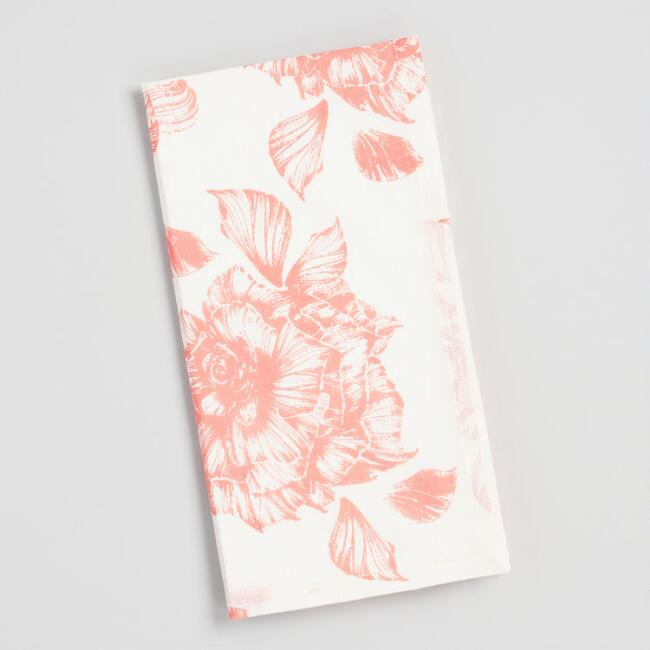 Coral Rose Print Napkins Set of 4