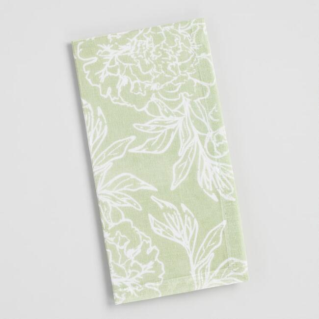 Laurel Green Floral Print Napkins Set of 4
