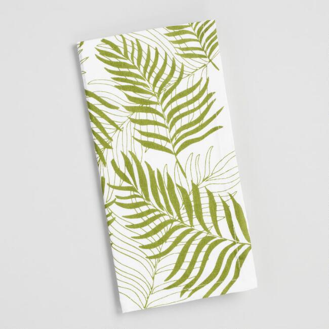 Green and White Tropical Leaf Napkins Set of 4