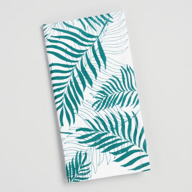 Dark Teal and White Tropical Leaf Napkins Set of 4