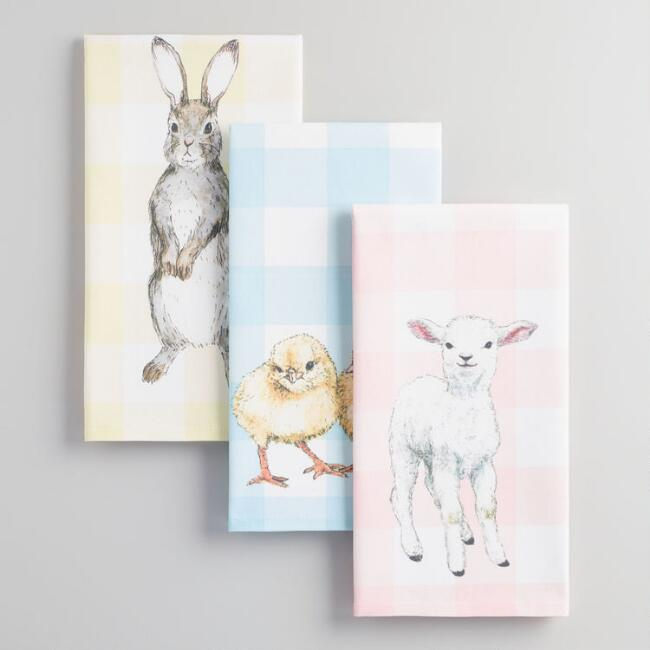 Baby Animals Pastel Gingham Kitchen Towels Set of 3