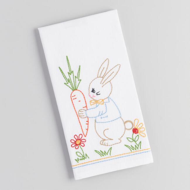 Vintage Bunny Hand Embroidered Kitchen Towel