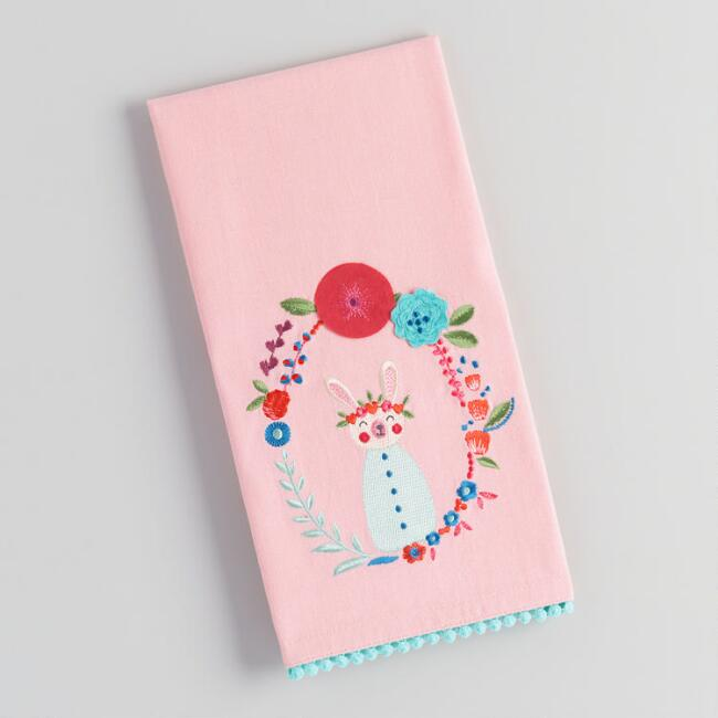 Pink Bunny Cameo Embroidered Kitchen Towel