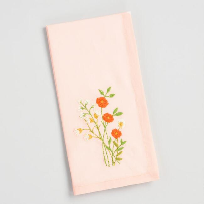 Peach Embroidered Floral Napkins Set of 4