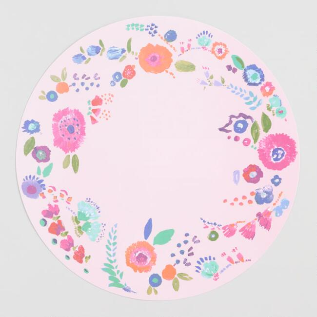 Round Pink Floral Wipe Off Placemats Set of 4
