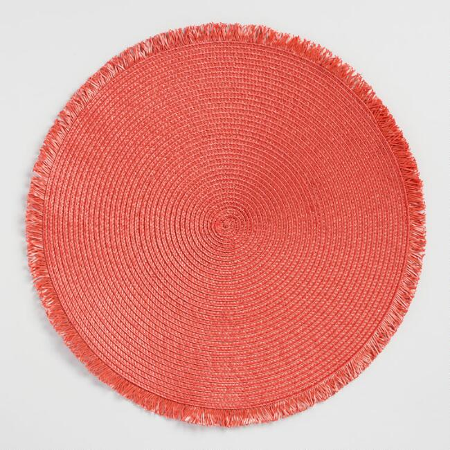 Round Terracotta Polybraid Placemats with Fringe Set of 4