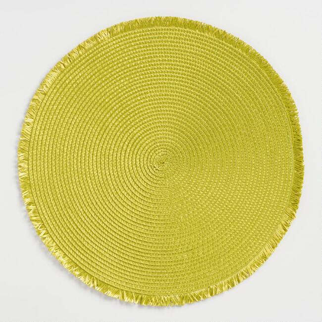 Round Green Polybraid Placemats with Fringe Set of 4