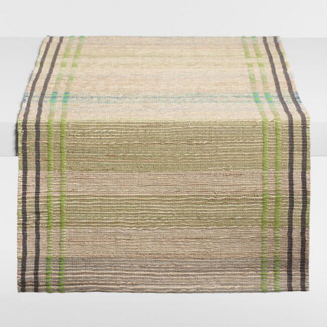 Woven Stripe Natural Fiber Table Runner