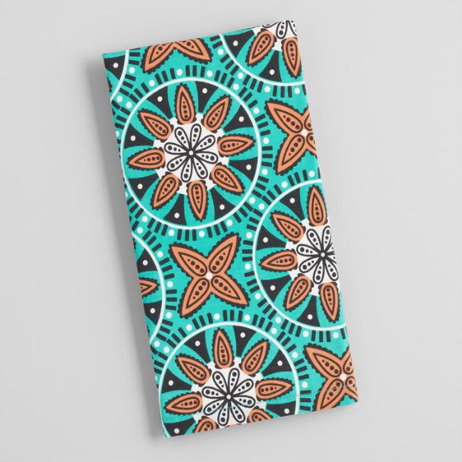 Teal and Orange Geo Medallion Print Napkins Set of 4
