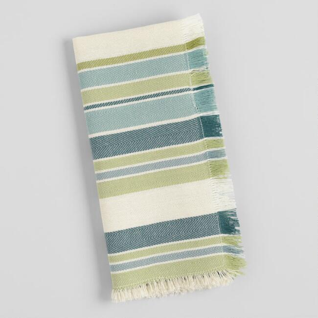 Blue and Green Stripe Woven Napkins Set of 4