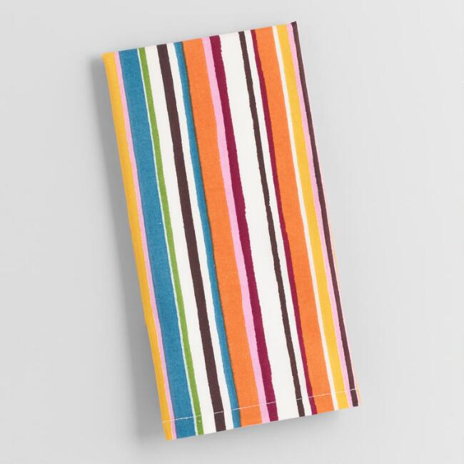 Multi Stripe Print Napkins Set of 4