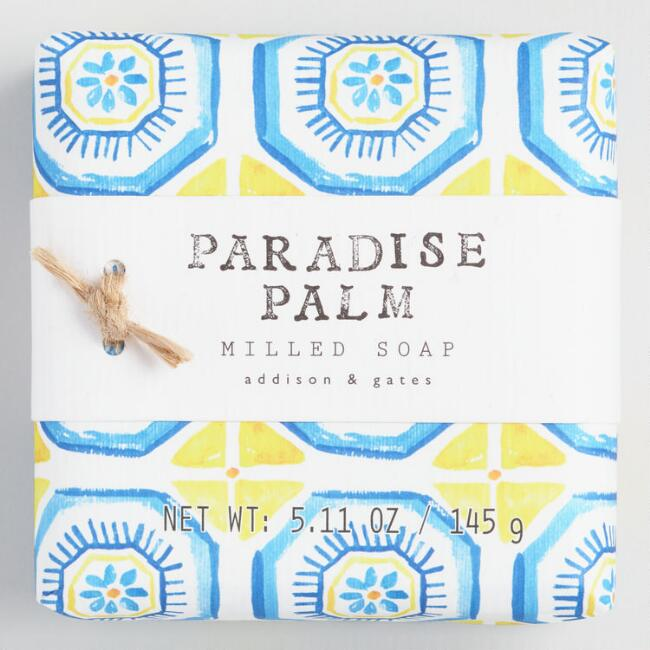 A&G Watercolor Tile Paradise Palm Bar Soap Set of 2