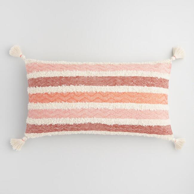 Oversized Coral Stripe Indoor Outdoor Lumbar Pillow