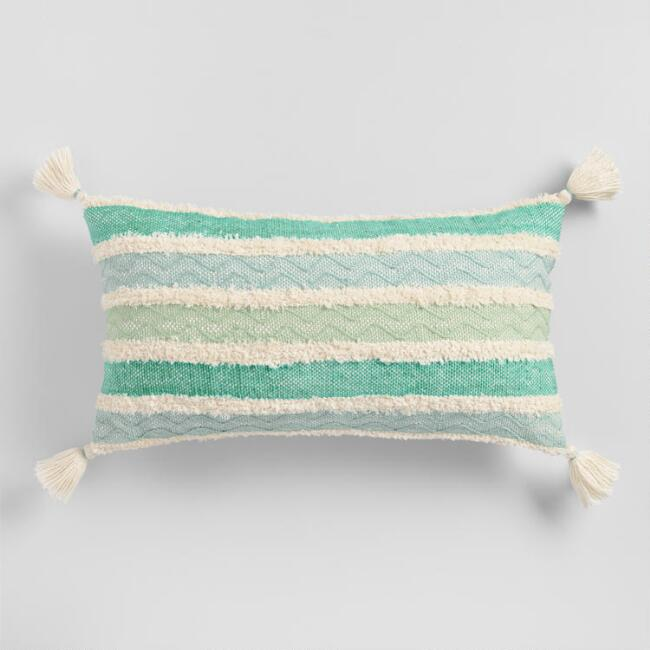 Oversized Aqua Stripe Indoor Outdoor Lumbar Pillow