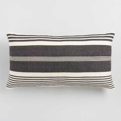 Oversized Black & White Striped Indoor Outdoor Lumbar Pillow