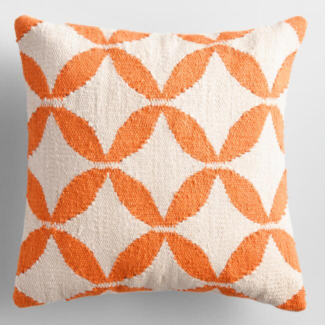 Bright Orange Petals Woven Indoor Outdoor Throw Pillow
